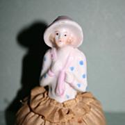 German vintage half doll pincushion