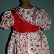 SALE Large Factory vintage Valentine doll  dress red  hearts