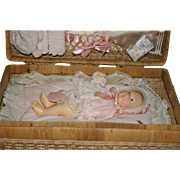REDUCED 1980 Effanbee baby Lisa with factory original layette wicker trunk