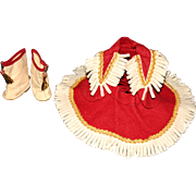 "SALE Fringed felt cowgirl majorette costume oil cloth boots for 13"" doll"