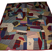 SALE Large size Excellent embroidered crazy Quilt