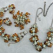 """Book Piece"" D&E Juliana Amber & Jonquil Rhinestone Grand Parure Necklace, Bracelet,"