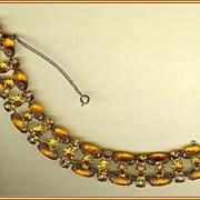 Amber Satin Glass and Orange Rhinestone Bracelet