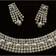 Weiss Clear Emerald Cut and Brilliant Rhinestone Demi Bracelet and Dangle Earrings