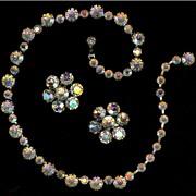 Weiss Crystal Aurora Borealis Rhinestone Demi Necklace Earrings