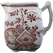 SALE English Aesthetic Movement Transferware Pitcher 1880s