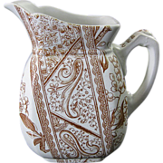 Aesthetic Brown Transferware Cream Pitcher - Chesterfield 1886