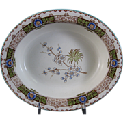 Aesthetic Brown / Polychrome Transferware Oval Serving Dish - 1884