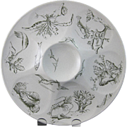 SALE Aesthetic Movement Transferware Oyster Plate - Sea Life 1880s  (30% OFF)
