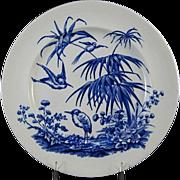 SALE Victorian Blue Transferware Plate – Birds & Palms 1880s