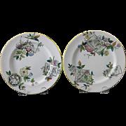 SALE Pair Victorian Aesthetic Transferware Plates - Birds & Nature 1884 (3 pairs available)