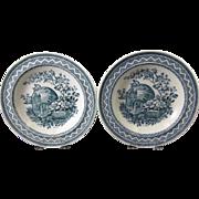 SALE Pair English Victorian Transferware Large Soup Plates -1883