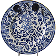 SALE English Victorian Large Blue Transferware Seafood Plate 1880 (9 available)
