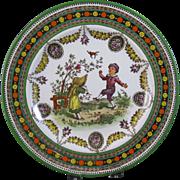 Large Victorian Brown / Polychrome Transferware Plate - Wedgwood Children