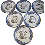 Set/6 Victorian Aesthetic Brown Transferware Plates - Birds 1876