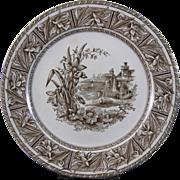 Victorian Aesthetic Brown Transferware Plate - 1882