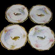 Set/4 English Victorian George Jones Hand Painted Fish Plates ca. 1890