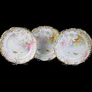 Trio of English Victorian Fish Plates - George Jones ca. 1890