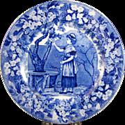 "Wedgwood Blue Transferware Plate - ""September"" - ca. 1903"