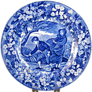 "Wedgwood Blue Transferware Plate - ""March"" - ca. 1903"