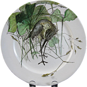 Victorian Brown Transferware Polychrome Doulton Plate - Bird & Foliage 1883
