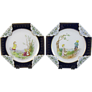 Pair of Victorian Cabinet Plates made for Tiffany's - 1880
