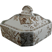 Aesthetic Brown Transferware 3-Pc Covered Butter Dish - 1886
