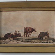 SOLD Watercolor painting of cows. - Red Tag Sale Item