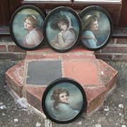 SALE Four ladies painted portraits..Set of four portraits..