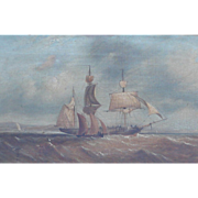 SOLD Marine painting....Antique o/c of ships....Ship painting....