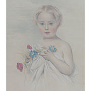 SALE Painting of girl holding flowers...Antique w/c painting....