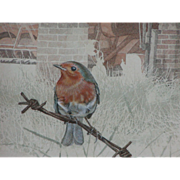 Bird painting...Robin watercolor...Painting of a bird...