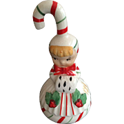 SOLD Lefton Christmas Candy Cane Girl Ornament and Bell