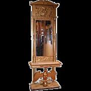 Swedish Karl Johan Gilt Pier Mirror and Marble Console en Suite