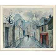 ERIK MOGENS VANTORE Oil on Canvas Painting, Post-War Paris Street Scene