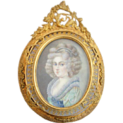 German or Austrian Miniature Portrait Painting of a Lady