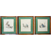 Set of Three English Hand Colored Stipple Engravings, The Costume of China ,Engraved 1799