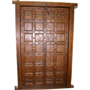 SOLD Indo-Portuguese Iron Mounted Teak Double Door with Frame