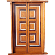 Modernist Teak, Rosewood and Aluminum Paneled Double Door with Frame, Chandigarh