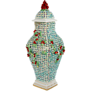 English Rococo Snowball Style Porcelain Covered Urn