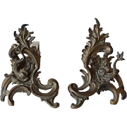 Pair of Small Scale French Louis XV Style Bronze Chenets
