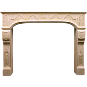 French Louis XIV Style Limestone Fireplace Surround