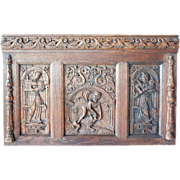 German Baroque 1600s Carved Oak Panel