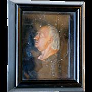 English George III Wax Portrait Relief of Samuel Johnson