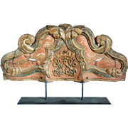 Indo-Portuguese Painted Teak Baroque Altar Architectural Panel With Royal Crest