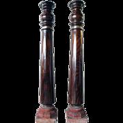 Pair of Indian Kerala Rosewood and Granite Base Columns