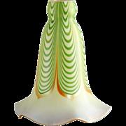 American Steuben Carder Period Glass Green Aurene Dragged Loop Lamp Shade