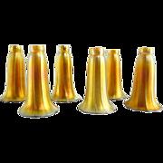 Set of Six American Steuben Art Glass Gold Lily Lamp Shades