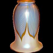 American Steuben Art Glass Blue Feather Lamp Shade
