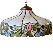 American Art Nouveau Leaded Glass Shade / Pendant Chandelier